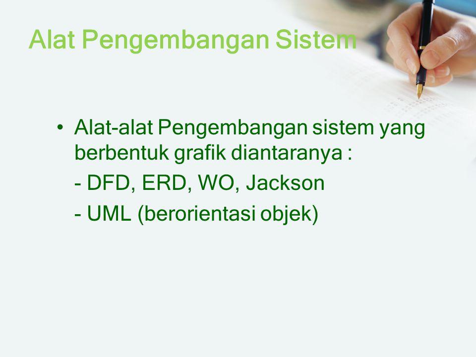 Alat Pengembangan Sistem Alat-alat Pengembangan sistem yang berbentuk grafik diantaranya : - DFD, ERD, WO, Jackson - UML (berorientasi objek)