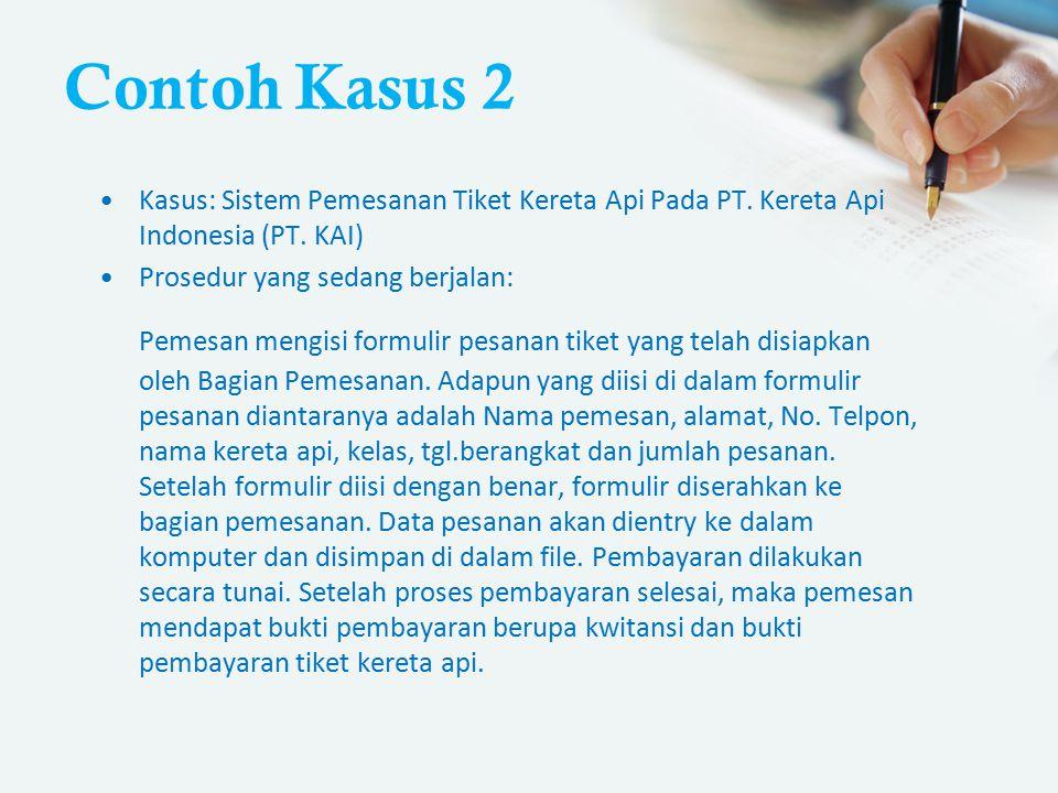 Contoh Kasus 2 Kasus: Sistem Pemesanan Tiket Kereta Api Pada PT. Kereta Api Indonesia (PT. KAI) Prosedur yang sedang berjalan: Pemesan mengisi formuli