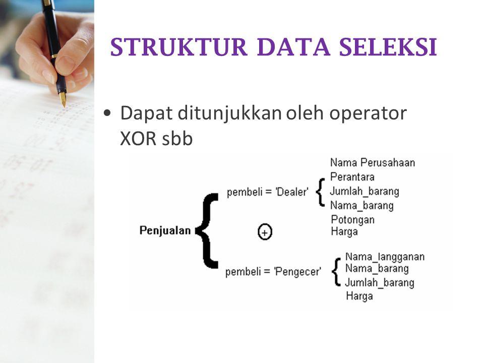 STRUKTUR DATA SELEKSI Dapat ditunjukkan oleh operator XOR sbb