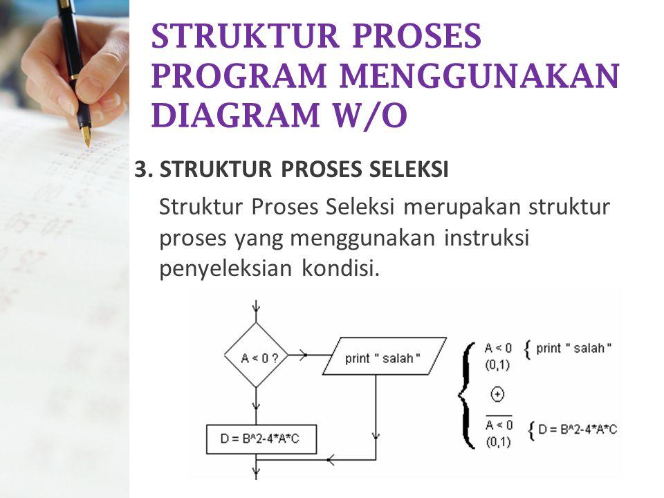 STRUKTUR PROSES PROGRAM MENGGUNAKAN DIAGRAM W/O 3. STRUKTUR PROSES SELEKSI Struktur Proses Seleksi merupakan struktur proses yang menggunakan instruks