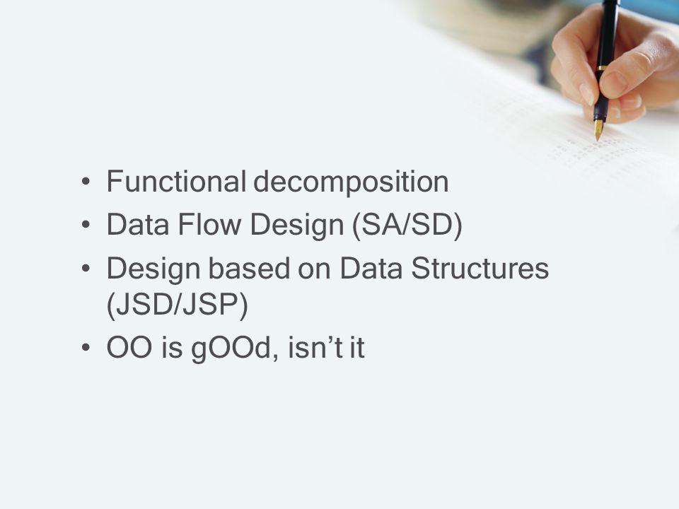 Metodologi Pemecahan Fungsional Functional decomposition methodologies ( metodologi Pemecahan fungsional ) Menekankan pada pemecahan dari sistem ke dalam subsistem-subsistem yang lebih kecil, sehingga lebih mudah dipahami, dirancang dan diterapkan.