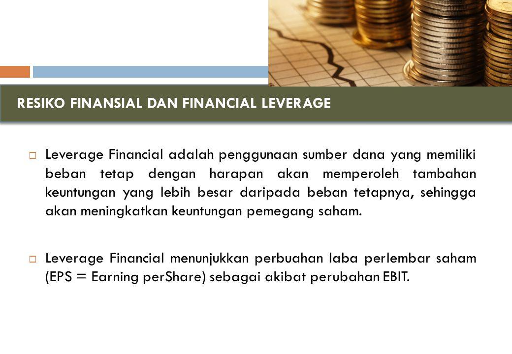 RESIKO FINANSIAL DAN FINANCIAL LEVERAGE  Leverage Financial adalah penggunaan sumber dana yang memiliki beban tetap dengan harapan akan memperoleh tambahan keuntungan yang lebih besar daripada beban tetapnya, sehingga akan meningkatkan keuntungan pemegang saham.