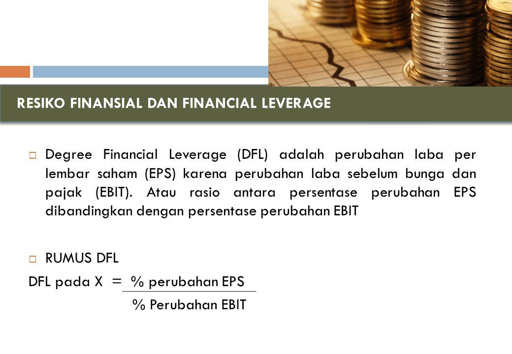 RESIKO FINANSIAL DAN FINANCIAL LEVERAGE  Degree Financial Leverage (DFL) adalah perubahan laba per lembar saham (EPS) karena perubahan laba sebelum bunga dan pajak (EBIT).