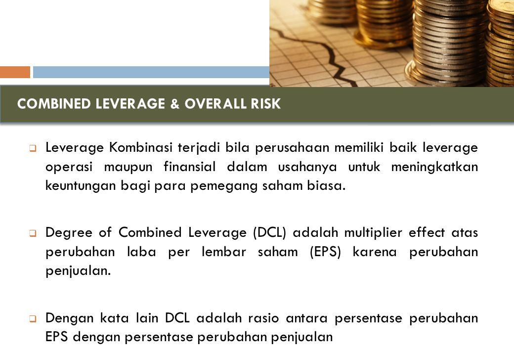 COMBINED LEVERAGE & OVERALL RISK  Leverage Kombinasi terjadi bila perusahaan memiliki baik leverage operasi maupun finansial dalam usahanya untuk meningkatkan keuntungan bagi para pemegang saham biasa.