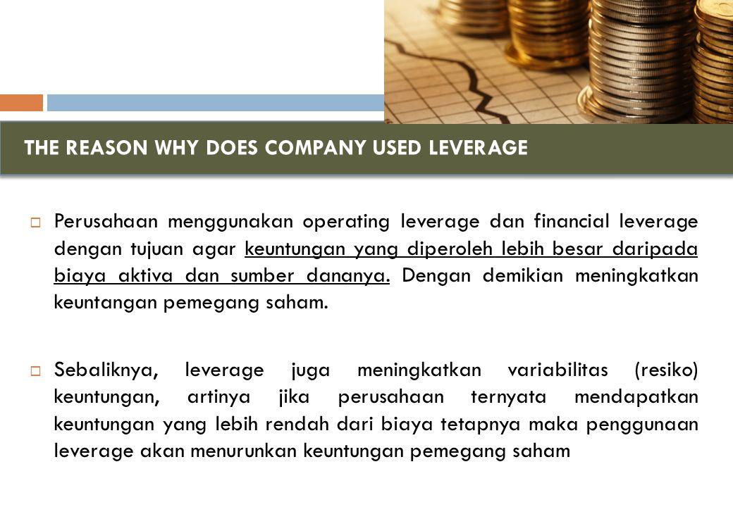 RESIKO FINANSIAL DAN FINANCIAL LEVERAGE DFL sebesar 2X menunjukkan bahwa setiap 1% perubahan EBIT atas dasar Rp.1000.000.000 akan mengakibatkan perubahan EPS sebesar 2% dengan arah yang sama.