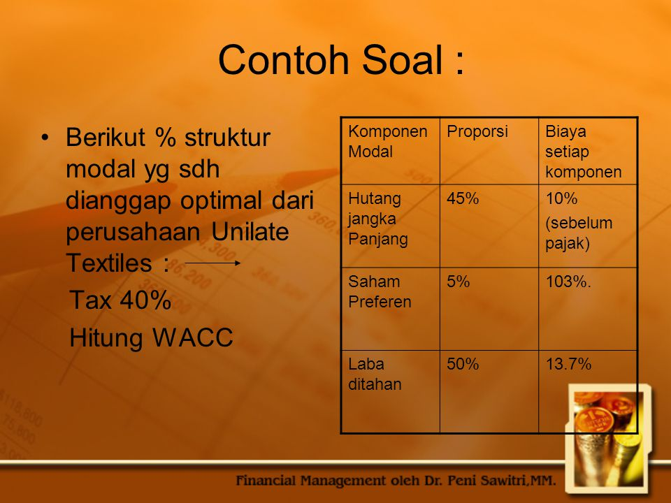 Contoh Soal : Berikut % struktur modal yg sdh dianggap optimal dari perusahaan Unilate Textiles : Tax 40% Hitung WACC Komponen Modal ProporsiBiaya set
