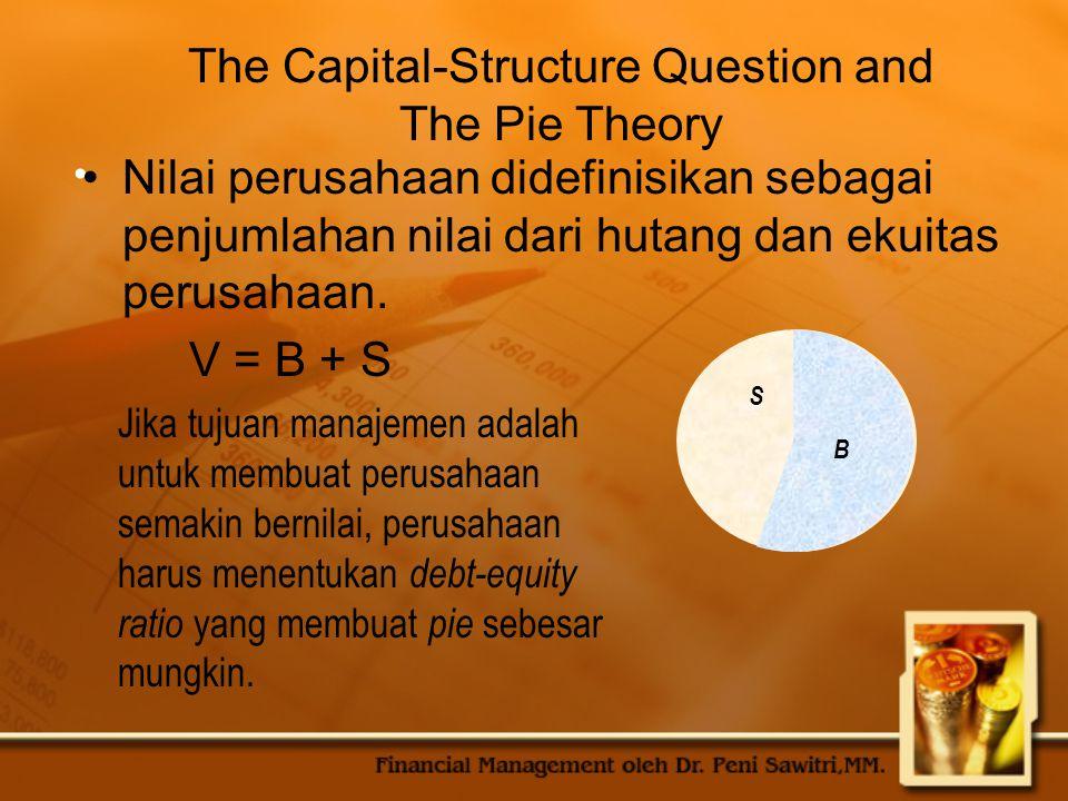 The Capital-Structure Question and The Pie Theory Nilai perusahaan didefinisikan sebagai penjumlahan nilai dari hutang dan ekuitas perusahaan. V = B +