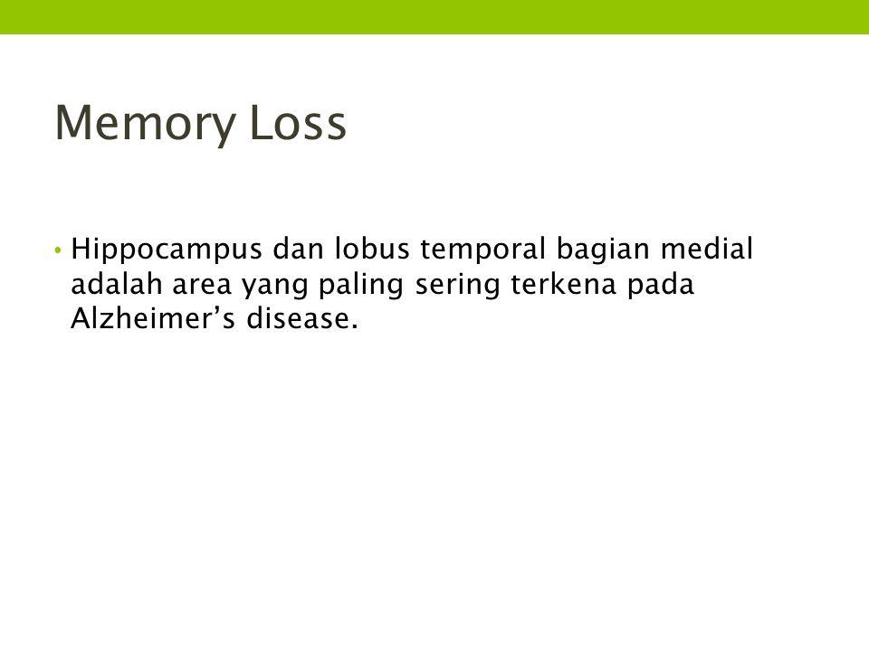 Memory Loss Hippocampus dan lobus temporal bagian medial adalah area yang paling sering terkena pada Alzheimer's disease.
