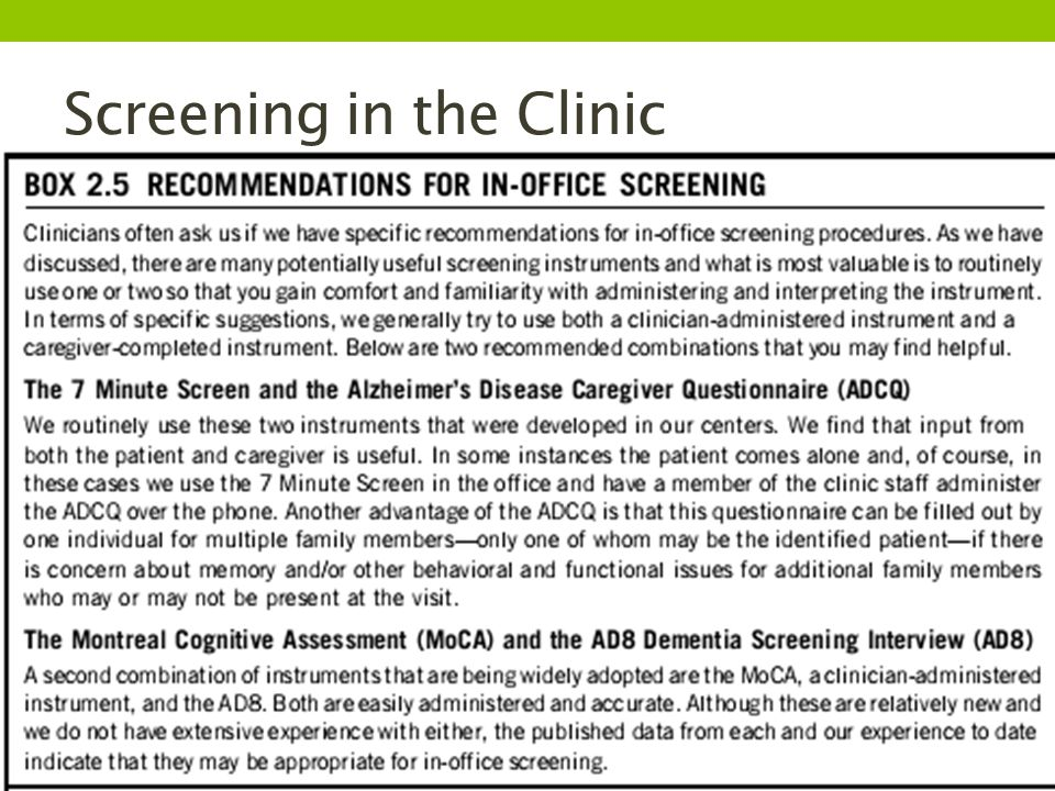 Screening in the Clinic