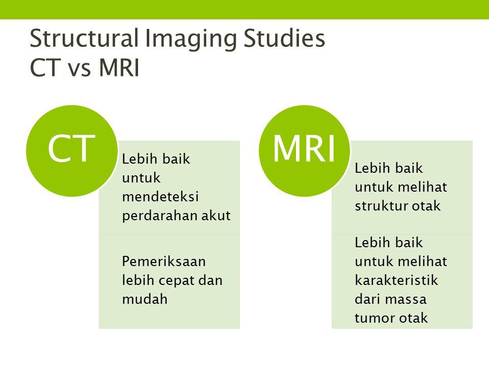 Structural Imaging Studies CT vs MRI Lebih baik untuk mendeteksi perdarahan akut Pemeriksaan lebih cepat dan mudah CT Lebih baik untuk melihat struktur otak Lebih baik untuk melihat karakteristik dari massa tumor otak MRI