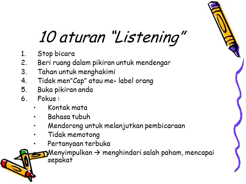 """10 aturan """"Listening"""" 1.Stop bicara 2.Beri ruang dalam pikiran untuk mendengar 3.Tahan untuk menghakimi 4.Tidak men""""Cap"""" atau me- label orang 5.Buka p"""