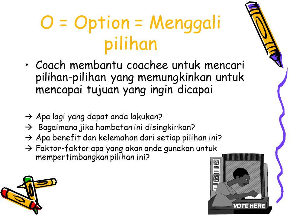 O = Option = Menggali pilihan Coach membantu coachee untuk mencari pilihan-pilihan yang memungkinkan untuk mencapai tujuan yang ingin dicapai  Apa lagi yang dapat anda lakukan.