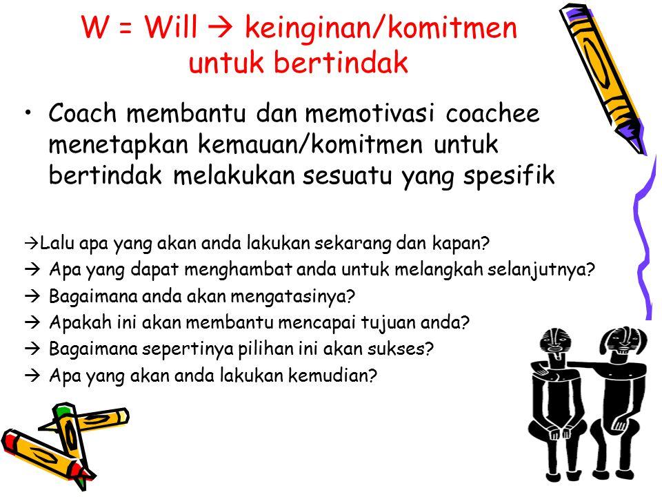W = Will  keinginan/komitmen untuk bertindak Coach membantu dan memotivasi coachee menetapkan kemauan/komitmen untuk bertindak melakukan sesuatu yang spesifik  Lalu apa yang akan anda lakukan sekarang dan kapan.