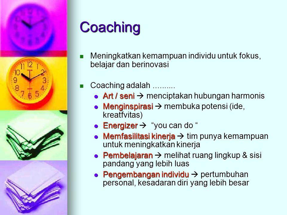 Coaching Meningkatkan kemampuan individu untuk fokus, belajar dan berinovasi Meningkatkan kemampuan individu untuk fokus, belajar dan berinovasi Coaching adalah..........