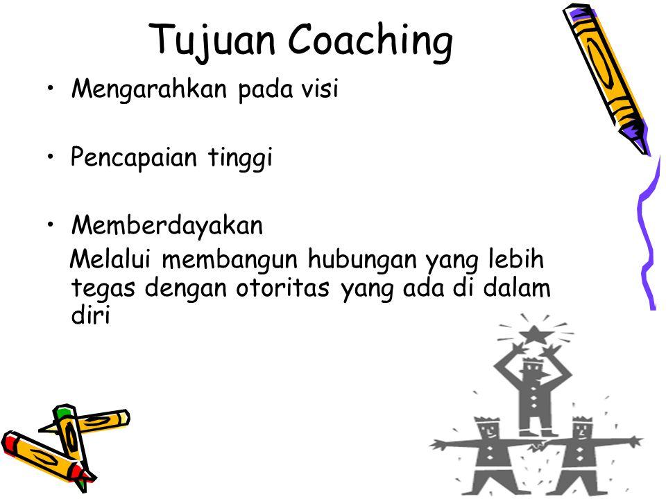 Tujuan Coaching Mengarahkan pada visi Pencapaian tinggi Memberdayakan Melalui membangun hubungan yang lebih tegas dengan otoritas yang ada di dalam di