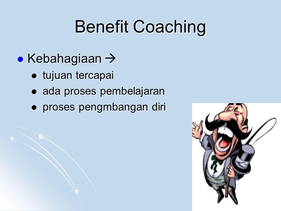 Benefit Coaching Kebahagiaan  Kebahagiaan  tujuan tercapai tujuan tercapai ada proses pembelajaran ada proses pembelajaran proses pengmbangan diri proses pengmbangan diri