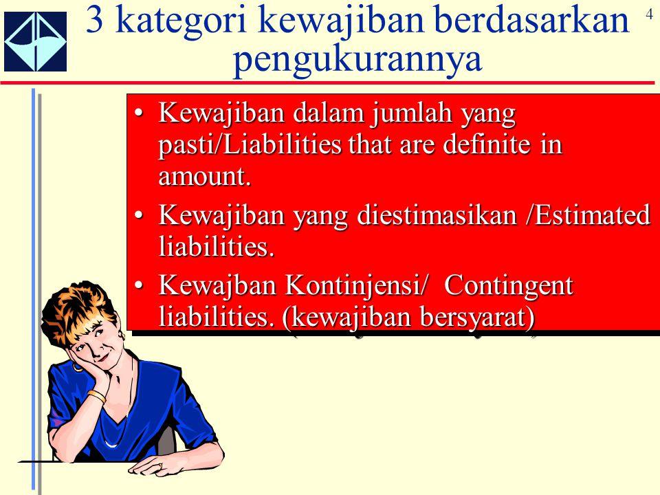 4 3 kategori kewajiban berdasarkan pengukurannya Kewajiban dalam jumlah yang pasti/Liabilities that are definite in amount.Kewajiban dalam jumlah yang
