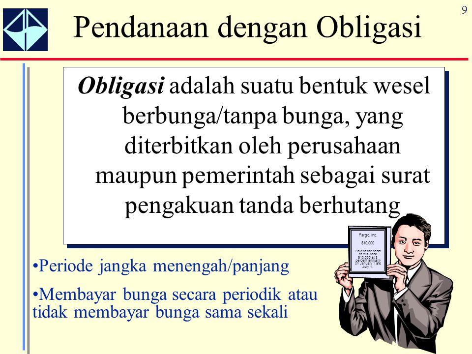 9 Pendanaan dengan Obligasi Obligasi adalah suatu bentuk wesel berbunga/tanpa bunga, yang diterbitkan oleh perusahaan maupun pemerintah sebagai surat