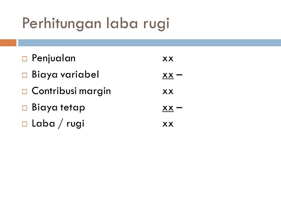 Perhitungan laba rugi  Penjualan xx  Biaya variabelxx –  Contribusi marginxx  Biaya tetapxx –  Laba / rugixx