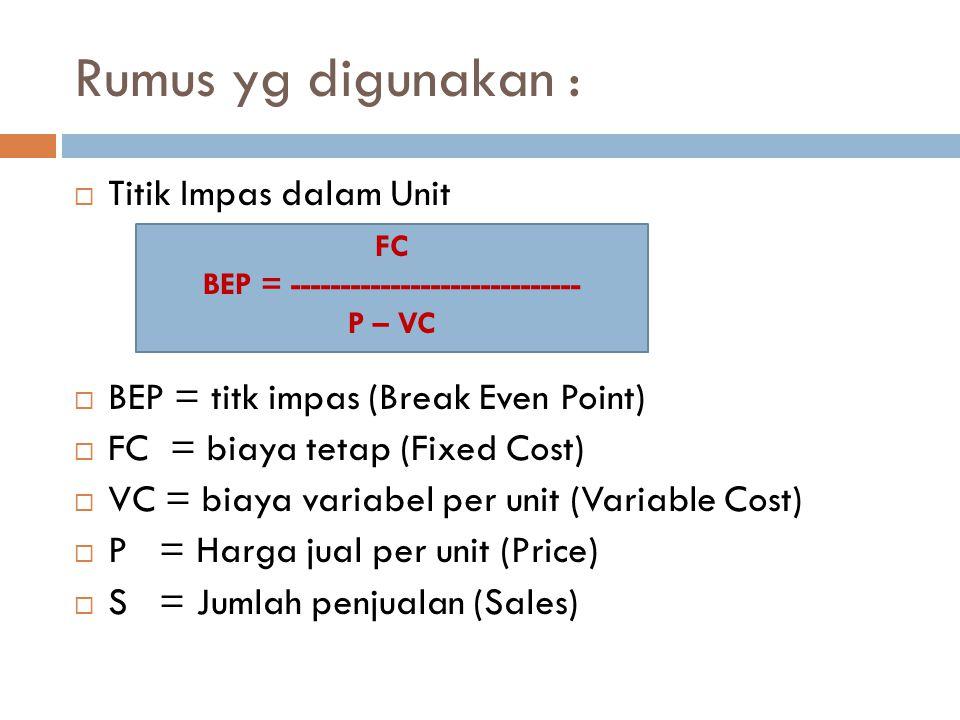 Rumus yg digunakan :  Titik Impas dalam Unit  BEP = titk impas (Break Even Point)  FC = biaya tetap (Fixed Cost)  VC = biaya variabel per unit (Va