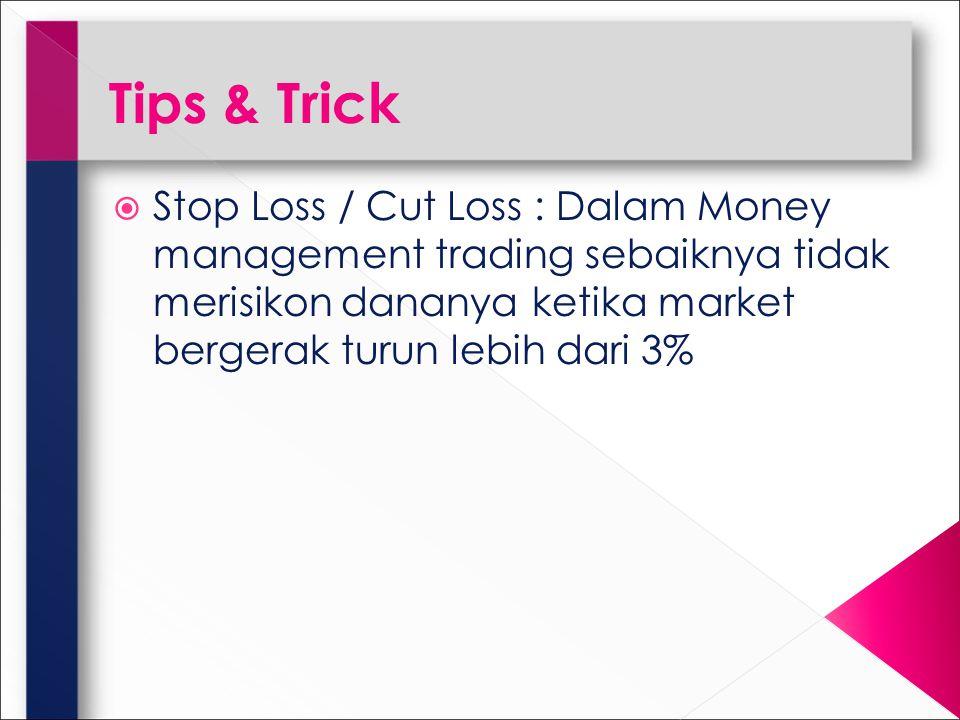 Tips & Trick  Stop Loss / Cut Loss : Dalam Money management trading sebaiknya tidak merisikon dananya ketika market bergerak turun lebih dari 3%