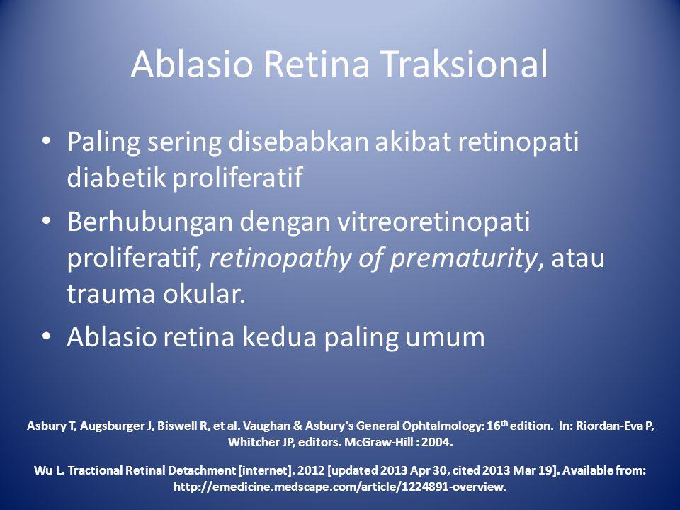 Paling sering disebabkan akibat retinopati diabetik proliferatif Berhubungan dengan vitreoretinopati proliferatif, retinopathy of prematurity, atau tr