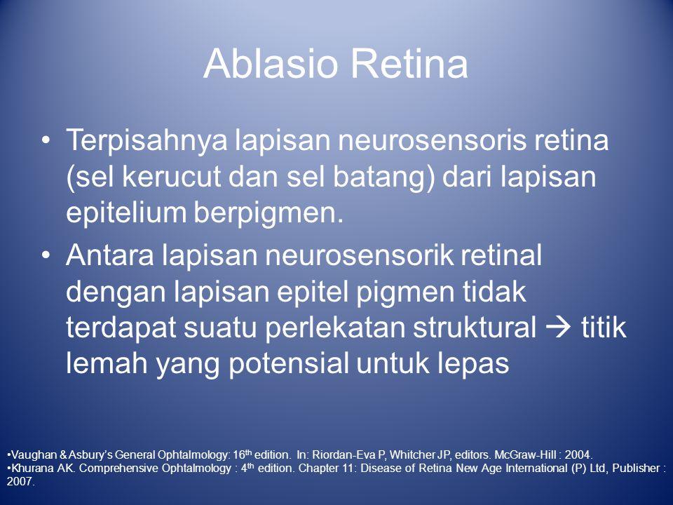 Ablasio Retina Klasifikasi : –Ablasio Retina Regmatogenosa –Ablasio Retina Traksional –Ablasio Retina Eksudatif Vaughan & Asbury's General Ophtalmology: 16 th edition.