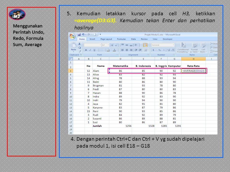 Menggunakan Perintah Undo, Redo, Formula Sum, Average 4. Dengan perintah Ctrl+C dan Ctrl + V yg sudah dipelajari pada modul 1, isi cell E18 – G18 5. K