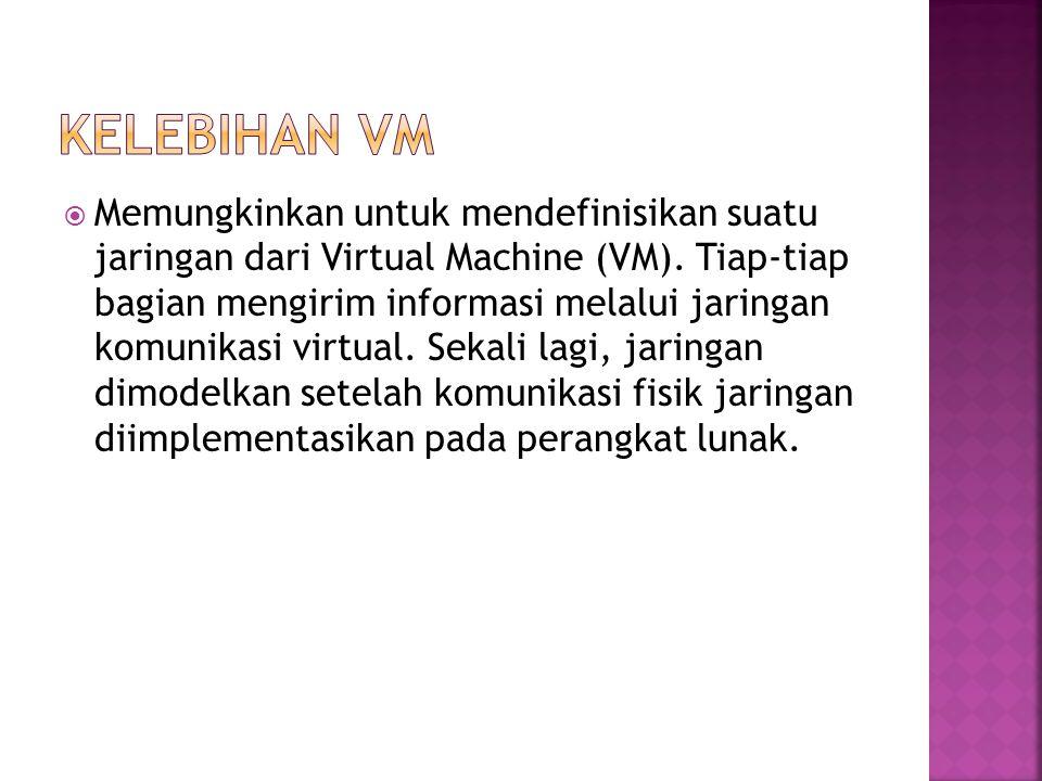  Memungkinkan untuk mendefinisikan suatu jaringan dari Virtual Machine (VM). Tiap-tiap bagian mengirim informasi melalui jaringan komunikasi virtual.
