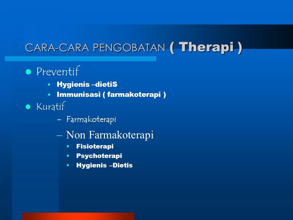 CARA-CARA PENGOBATAN ( Therapi ) Preventif Hygienis –dietiS Immunisasi ( farmakoterapi ) Kuratif –Farmakoterapi –Non Farmakoterapi Fisioterapi Psychot