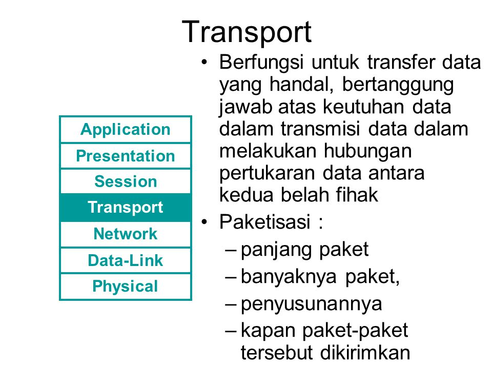 Transport Berfungsi untuk transfer data yang handal, bertanggung jawab atas keutuhan data dalam transmisi data dalam melakukan hubungan pertukaran dat