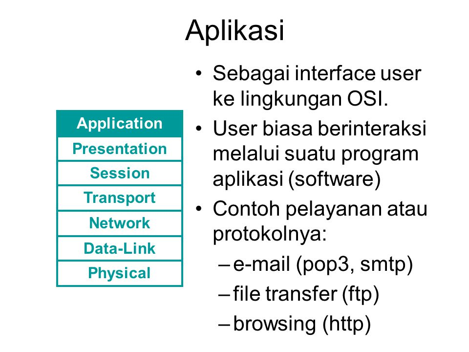 Aplikasi Sebagai interface user ke lingkungan OSI. User biasa berinteraksi melalui suatu program aplikasi (software) Contoh pelayanan atau protokolnya