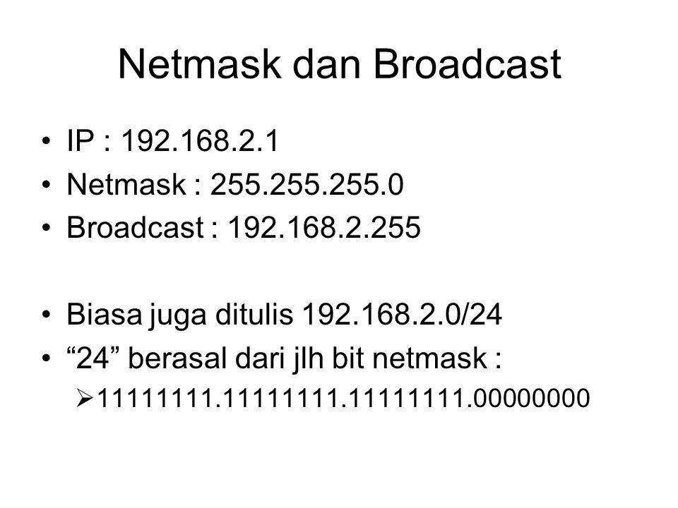 "Netmask dan Broadcast IP : 192.168.2.1 Netmask : 255.255.255.0 Broadcast : 192.168.2.255 Biasa juga ditulis 192.168.2.0/24 ""24"" berasal dari jlh bit n"