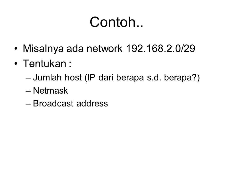 Contoh.. Misalnya ada network 192.168.2.0/29 Tentukan : –Jumlah host (IP dari berapa s.d. berapa?) –Netmask –Broadcast address