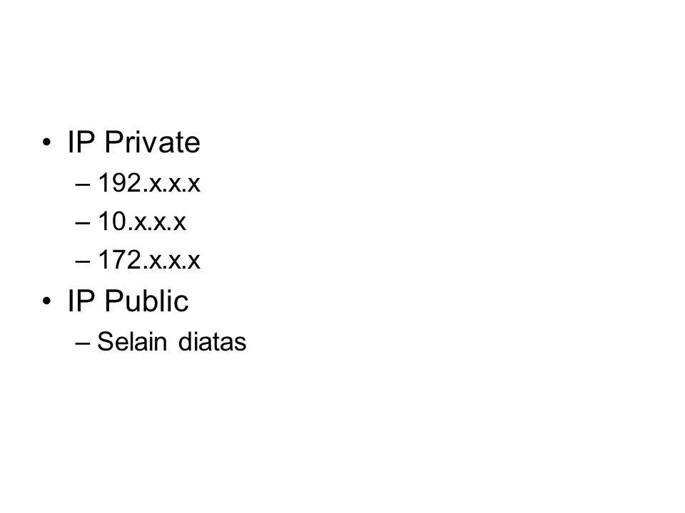 IP Private –192.x.x.x –10.x.x.x –172.x.x.x IP Public –Selain diatas