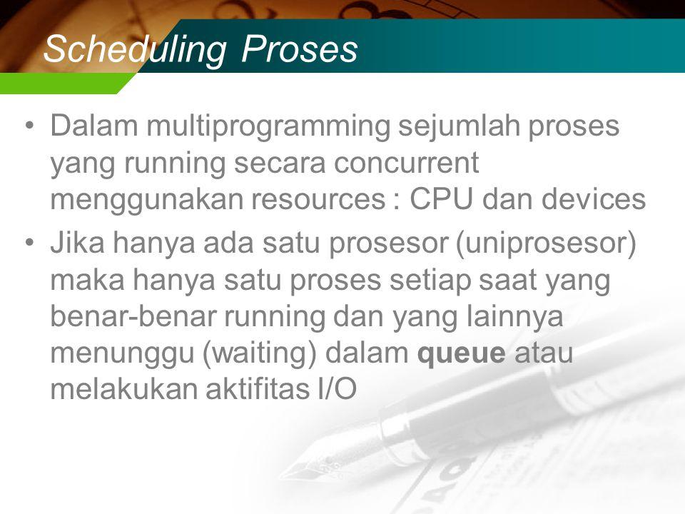 Scheduling Proses Dalam multiprogramming sejumlah proses yang running secara concurrent menggunakan resources : CPU dan devices Jika hanya ada satu prosesor (uniprosesor) maka hanya satu proses setiap saat yang benar-benar running dan yang lainnya menunggu (waiting) dalam queue atau melakukan aktifitas I/O