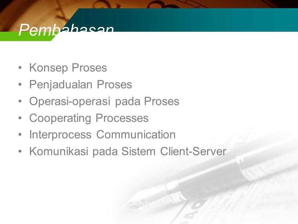 Pembahasan Konsep Proses Penjadualan Proses Operasi-operasi pada Proses Cooperating Processes Interprocess Communication Komunikasi pada Sistem Client-Server
