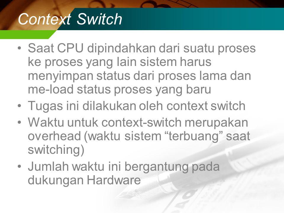 Context Switch Saat CPU dipindahkan dari suatu proses ke proses yang lain sistem harus menyimpan status dari proses lama dan me-load status proses yang baru Tugas ini dilakukan oleh context switch Waktu untuk context-switch merupakan overhead (waktu sistem terbuang saat switching) Jumlah waktu ini bergantung pada dukungan Hardware