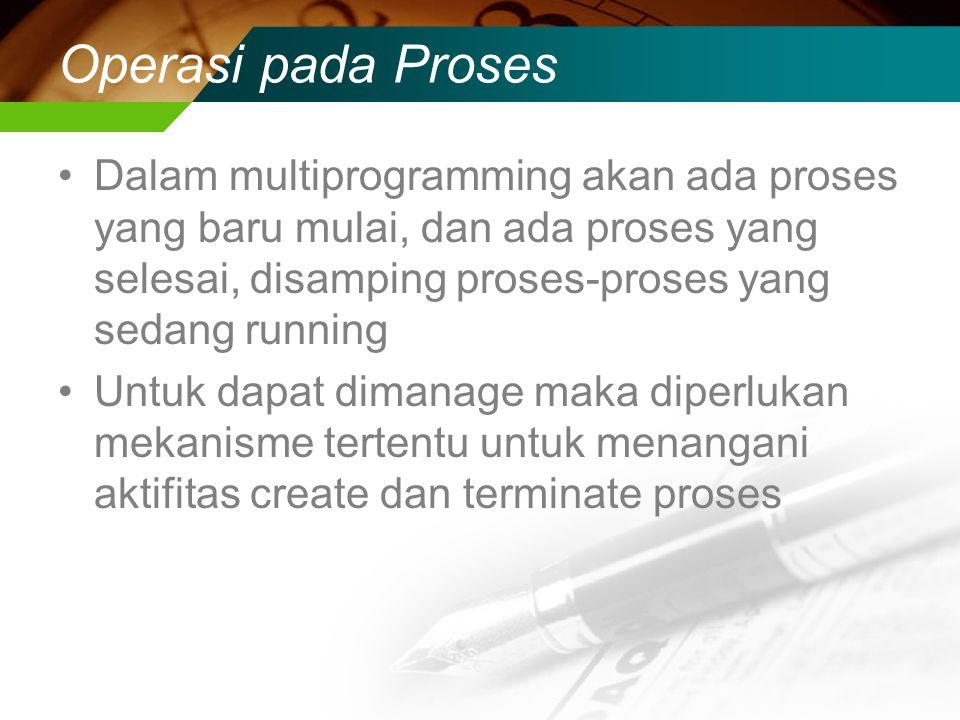 Operasi pada Proses Dalam multiprogramming akan ada proses yang baru mulai, dan ada proses yang selesai, disamping proses-proses yang sedang running Untuk dapat dimanage maka diperlukan mekanisme tertentu untuk menangani aktifitas create dan terminate proses