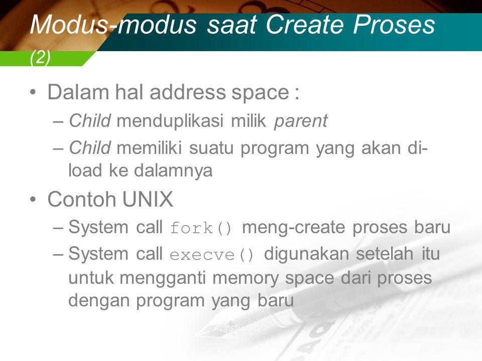 Modus-modus saat Create Proses (2) Dalam hal address space : –Child menduplikasi milik parent –Child memiliki suatu program yang akan di- load ke dalamnya Contoh UNIX –System call fork() meng-create proses baru –System call execve() digunakan setelah itu untuk mengganti memory space dari proses dengan program yang baru
