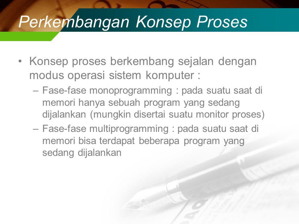Perkembangan Konsep Proses Konsep proses berkembang sejalan dengan modus operasi sistem komputer : –Fase-fase monoprogramming : pada suatu saat di memori hanya sebuah program yang sedang dijalankan (mungkin disertai suatu monitor proses) –Fase-fase multiprogramming : pada suatu saat di memori bisa terdapat beberapa program yang sedang dijalankan