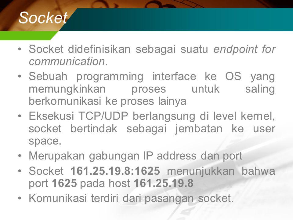 Socket Socket didefinisikan sebagai suatu endpoint for communication.
