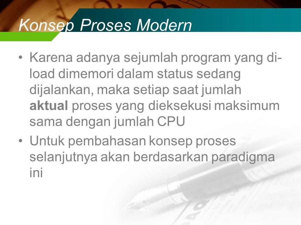 Konsep Proses Modern Karena adanya sejumlah program yang di- load dimemori dalam status sedang dijalankan, maka setiap saat jumlah aktual proses yang dieksekusi maksimum sama dengan jumlah CPU Untuk pembahasan konsep proses selanjutnya akan berdasarkan paradigma ini