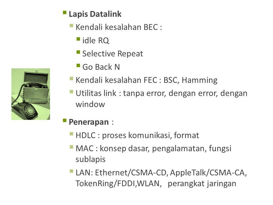  Lapis Datalink  Kendali kesalahan BEC :  idle RQ  Selective Repeat  Go Back N  Kendali kesalahan FEC : BSC, Hamming  Utilitas link : tanpa error, dengan error, dengan window  Penerapan :  HDLC : proses komunikasi, format  MAC : konsep dasar, pengalamatan, fungsi sublapis  LAN: Ethernet/CSMA-CD, AppleTalk/CSMA-CA, TokenRing/FDDI,WLAN, perangkat jaringan