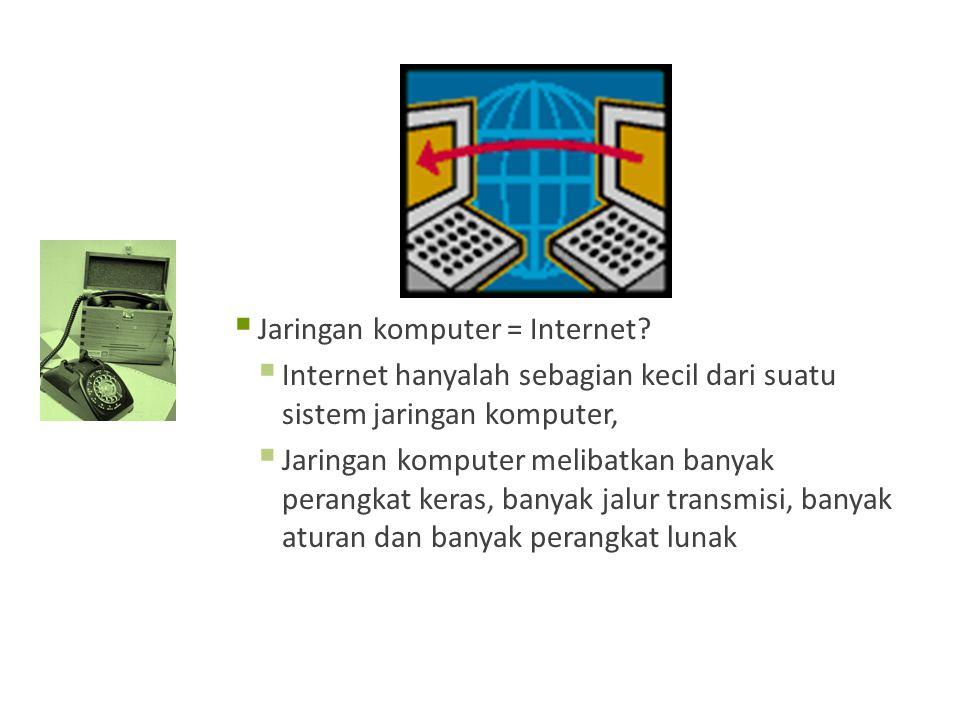  Jaringan komputer = Internet.