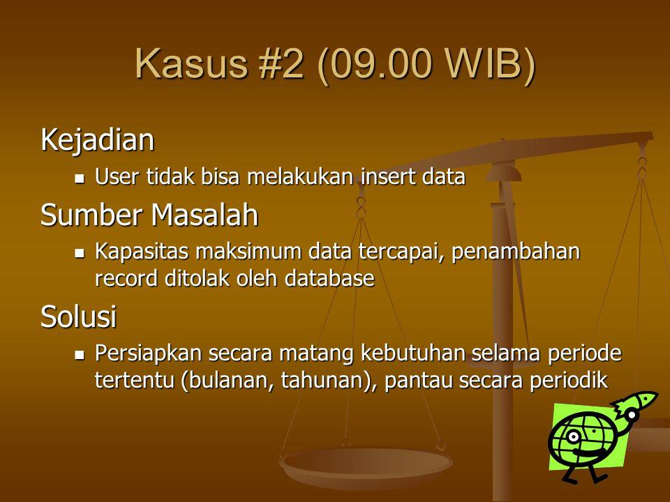 Kasus #2 (09.00 WIB) Kejadian User tidak bisa melakukan insert data User tidak bisa melakukan insert data Sumber Masalah Kapasitas maksimum data terca