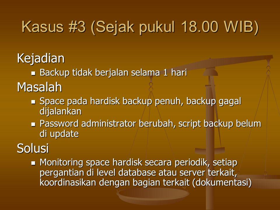 Kasus #3 (Sejak pukul 18.00 WIB) Kejadian Backup tidak berjalan selama 1 hari Backup tidak berjalan selama 1 hariMasalah Space pada hardisk backup pen