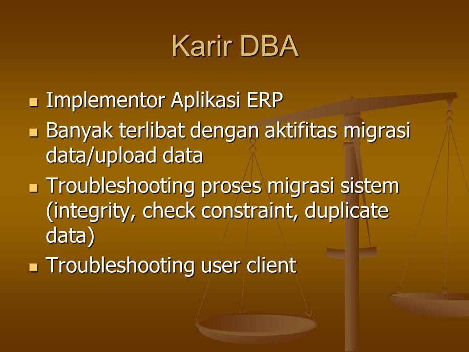 Strategi DBA Perbanyak Preventif Action (Antisipasi problem) Perbanyak Preventif Action (Antisipasi problem) Monitoring rutin dengan disiplin (harian, mingguan, bulanan) Monitoring rutin dengan disiplin (harian, mingguan, bulanan) Antisipasi pengembangan data Antisipasi pengembangan data Implementasi keamanan database Implementasi keamanan database Audit database secara rutin Audit database secara rutin