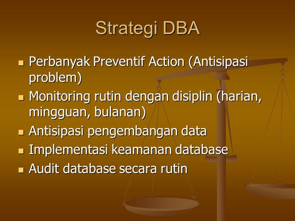Strategi DBA Perbanyak Preventif Action (Antisipasi problem) Perbanyak Preventif Action (Antisipasi problem) Monitoring rutin dengan disiplin (harian,