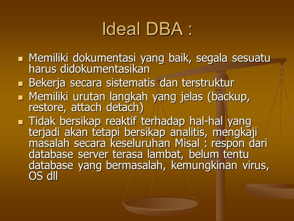 Ideal DBA : Memiliki dokumentasi yang baik, segala sesuatu harus didokumentasikan Memiliki dokumentasi yang baik, segala sesuatu harus didokumentasika